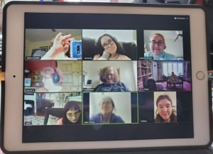 zoom meeting nine people on screen