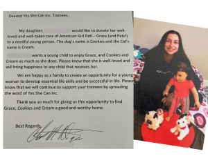 Yes She Can letter from donor